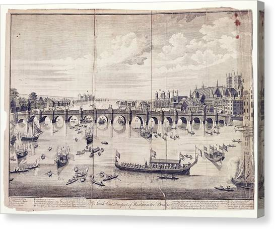 Westminster Abbey Canvas Print - Barges At Westminster Bridge by Library Of Congress