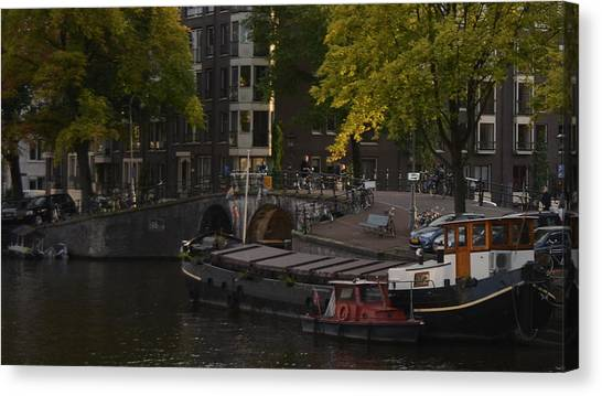 barges in Amsterdam Canvas Print