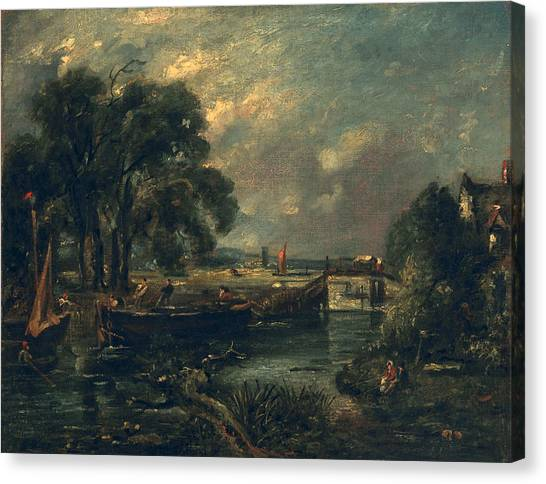 Dedham Canvas Print - Barges On The Stour by John Constable