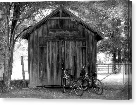 Barn And Bikes Canvas Print by Paulette Maffucci