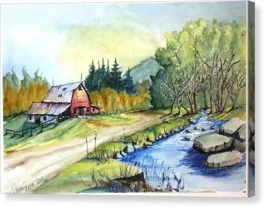 Barn And Stream Canvas Print