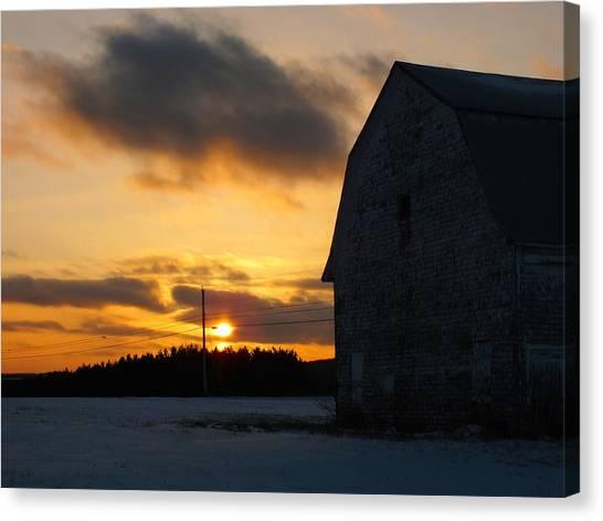 Barn At Sunset Canvas Print by Gene Cyr
