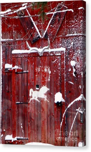 Barn Door In Winter Canvas Print