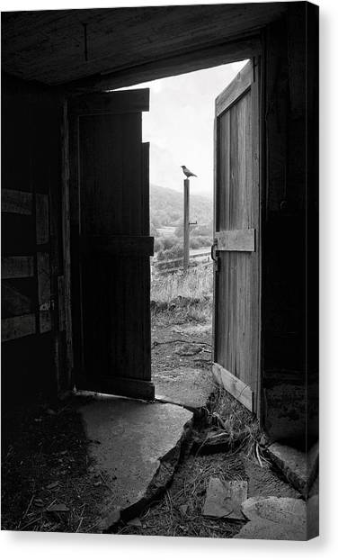 Barn Door - View From Within - Old Barn Picture Canvas Print