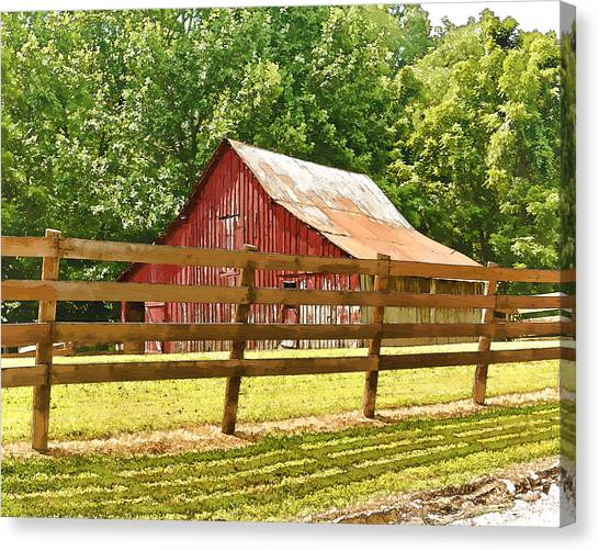 Barn In A Fence Canvas Print