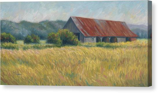 Quebec Canvas Print - Barn In The Field by Lucie Bilodeau