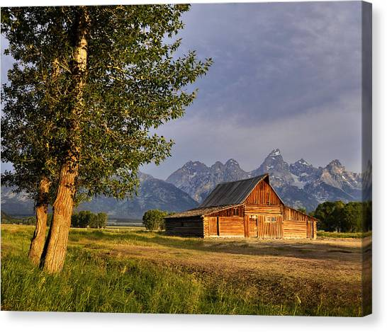 Barn In The Tetons Canvas Print