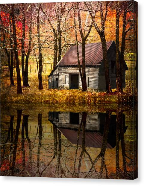Foggy Forests Canvas Print - Barn In The Woods by Debra and Dave Vanderlaan