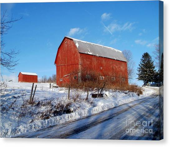 Barn On A Hill Canvas Print