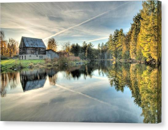 Barn On Mill Pond Along Waba Creek Canvas Print
