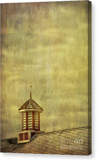 Barn Rooftop With Weather Vane Canvas Print