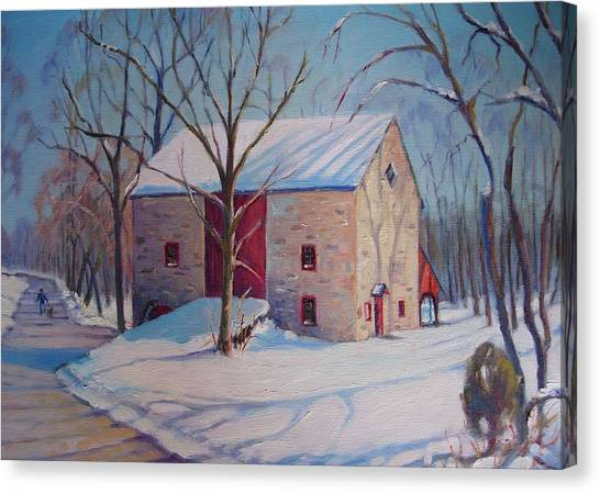 Barn With The Red Door Canvas Print