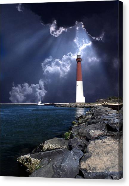 Maritime Canvas Print - Barnegat Inlet Lighthouse Nj by Skip Willits