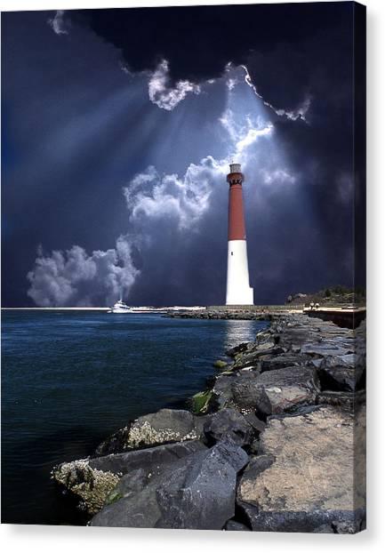 Long Canvas Print - Barnegat Inlet Lighthouse Nj by Skip Willits