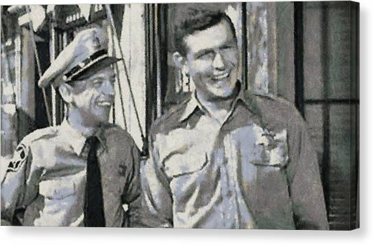Barney Fife And Andy Taylor Canvas Print