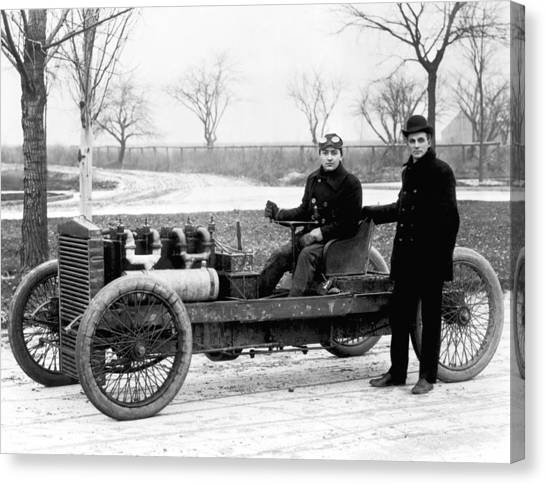 Racecar Drivers Canvas Print - Barney Oldfield And Henry Ford by Underwood Archives