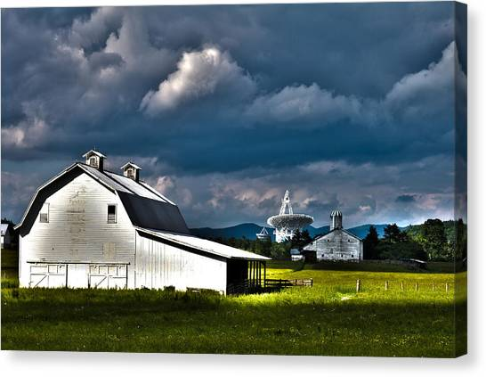 Barns And Radio Telescopes Canvas Print