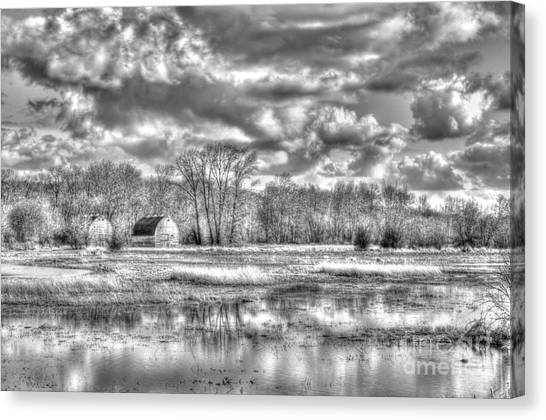 Barns On The Delta 2 Canvas Print
