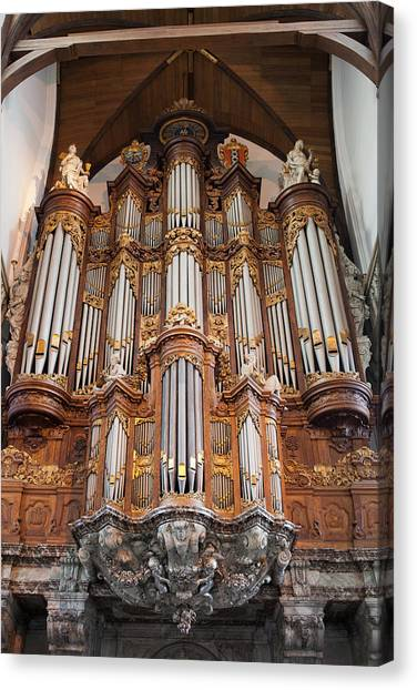 Baroque Grand Organ In Oude Kerk In Amsterdam Canvas Print