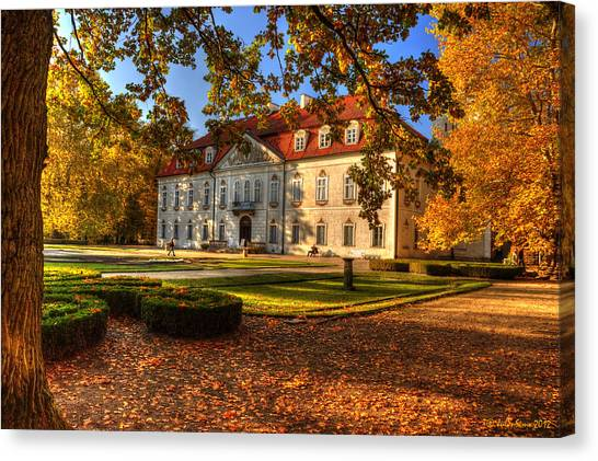 Baroque Palace In Nieborow In Poland During Golden Autumn Canvas Print