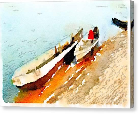 Barques Sur Le Chari Canvas Print