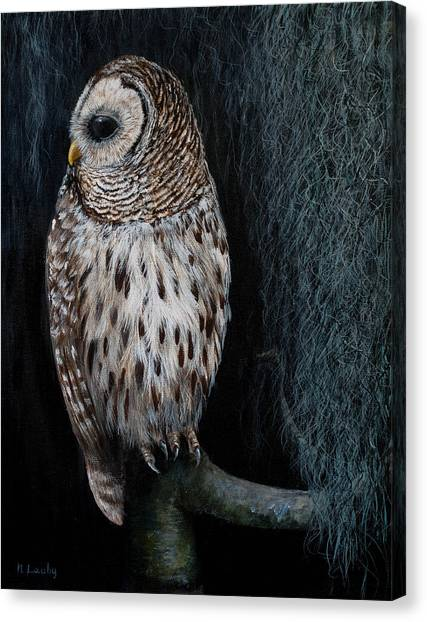 Barred Owl On A Mossy Perch Canvas Print