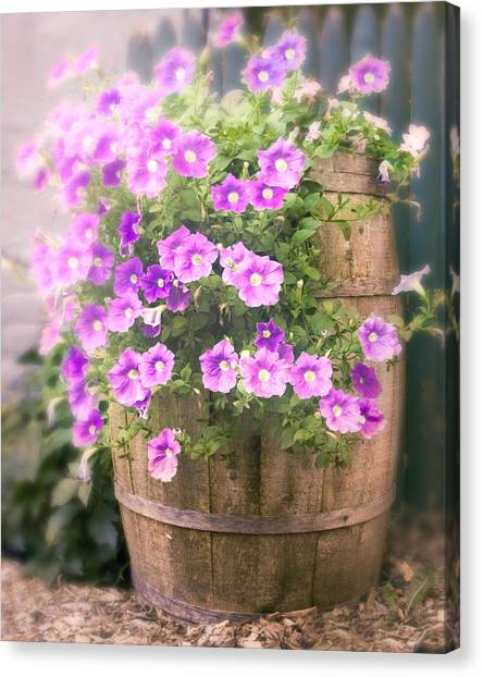 Barrel Of Flowers - Floral Arrangements Canvas Print