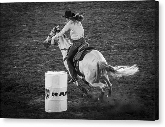 Barrel Racing Canvas Print - Around by Caitlyn  Grasso