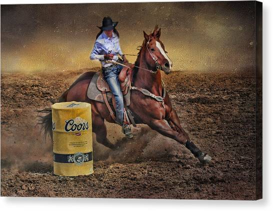 Barrel-rider Cowgirl Canvas Print