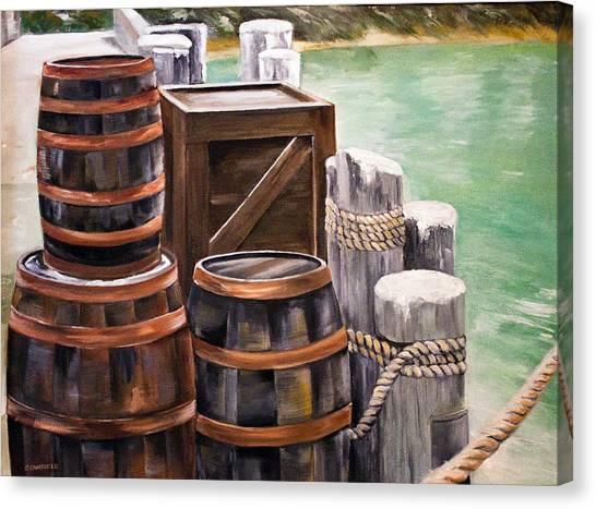 Barrels On The Pier Canvas Print