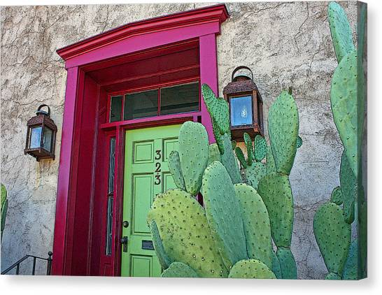 Barrio Red And Green Canvas Print