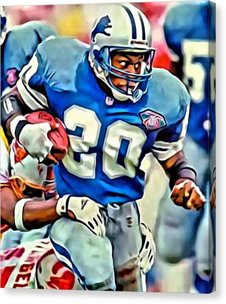Running Backs Canvas Print - Barry Sanders by Florian Rodarte