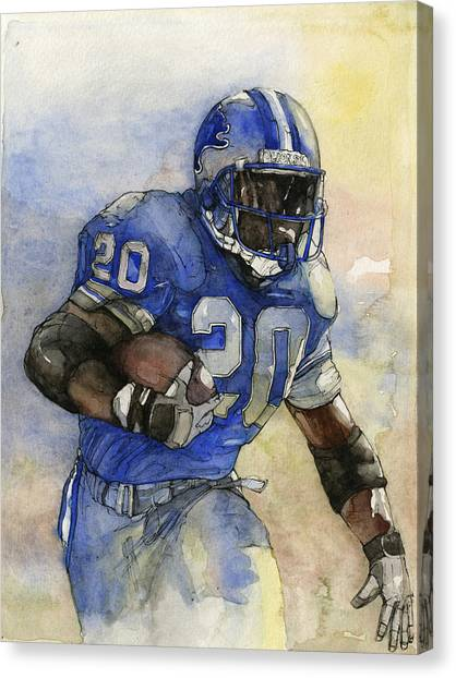 Running Backs Canvas Print - Barry Sanders by Michael  Pattison