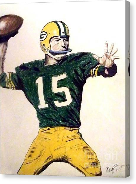 Fire Ball Canvas Print - Bart Star Of The Green Bay Packers by Jim Fitzpatrick