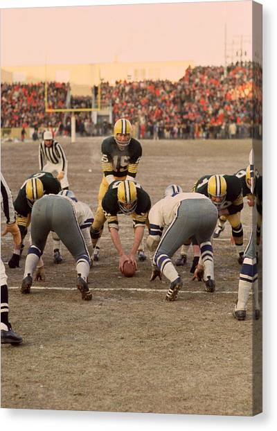 Quarterbacks Canvas Print - Bart Starr Goal Line by Retro Images Archive