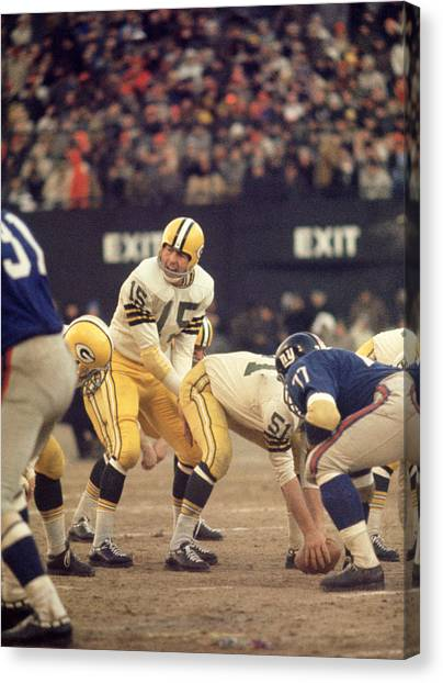 New York Giants Canvas Print - Bart Starr Calls Out The Snap by Retro Images Archive