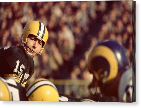Los Angeles Rams Canvas Print - Bart Starr Looks  by Retro Images Archive