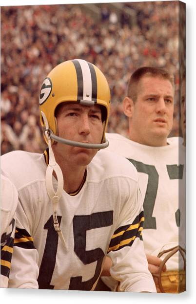 Football Players Canvas Print - Bart Starr Watches From The Sideline by Retro Images Archive