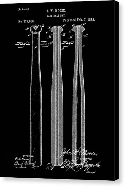 Fast Ball Canvas Print - Baseball Bat Patent 1888 - Black by Stephen Younts