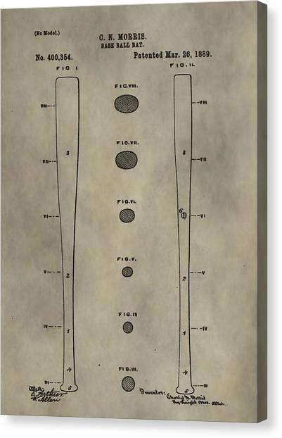 Lou Gehrig Canvas Print - Baseball Bat Patent by Dan Sproul
