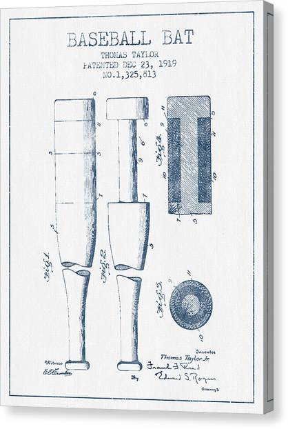 Softball Canvas Print - Baseball Bat Patent From 1919 - Blue Ink by Aged Pixel