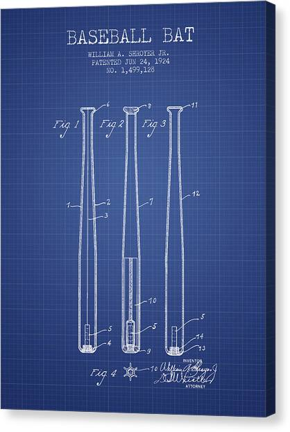 Home Runs Canvas Print - Baseball Bat Patent From 1924 - Blueprint by Aged Pixel