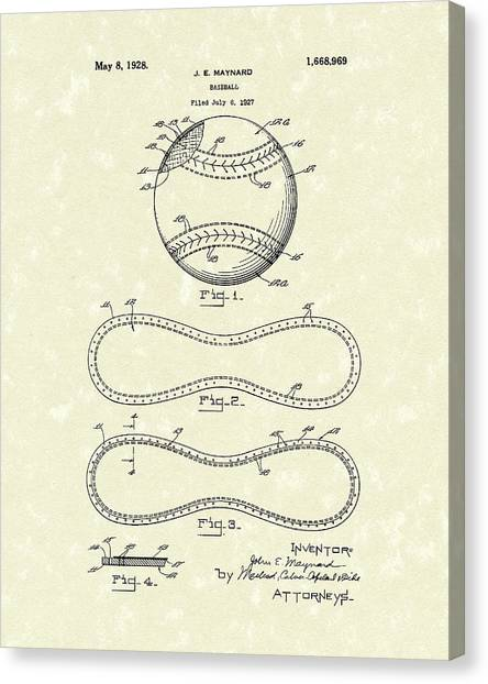 Canvas Print featuring the drawing Baseball By Maynard 1928 Patent Art by Prior Art Design