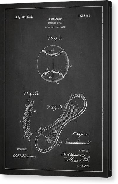 Softball Canvas Print - Baseball Cover Patent Drawing From 1923 by Aged Pixel