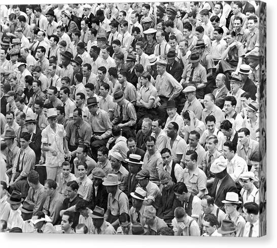 Yankee Stadium Canvas Print - Baseball Fans In The Bleachers At Yankee Stadium. by Underwood Archives