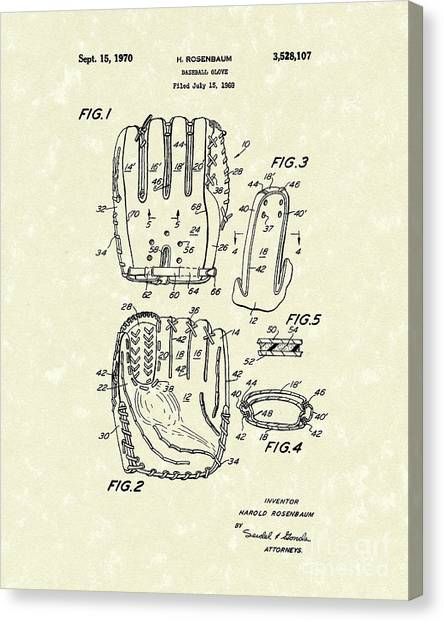 Baseball Gloves Canvas Print - Baseball Glove 1970 Patent Art by Prior Art Design