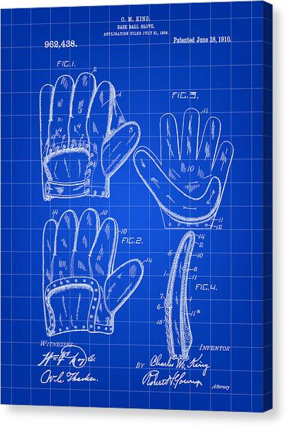 Fast Ball Canvas Print - Baseball Glove Patent 1909 - Blue by Stephen Younts
