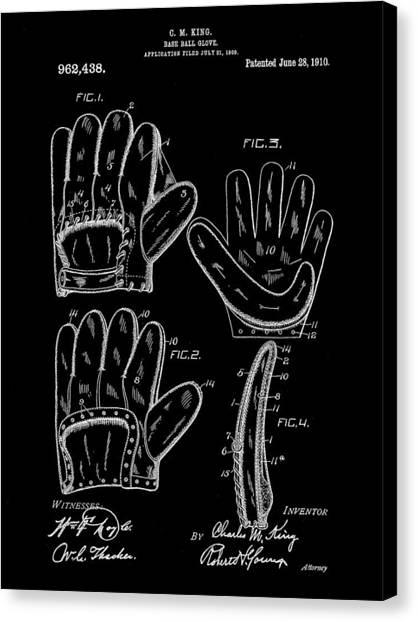 Fast Ball Canvas Print - Baseball Glove Patent 1909 - Black by Stephen Younts