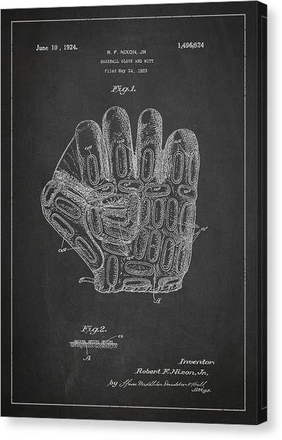 Softball Canvas Print - Baseball Glove Patent Drawing From 1923 by Aged Pixel