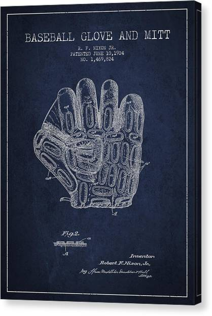 Softball Canvas Print - Baseball Glove Patent Drawing From 1924 by Aged Pixel